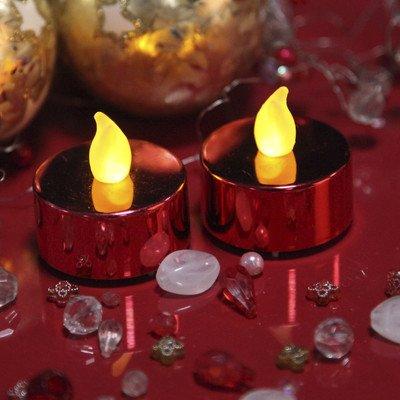 Star T-Light - Velas de Led (luz parpadeante, incluye pilas, 2 unidades), color rojo metalizado
