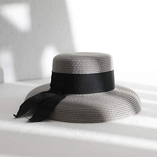 hat-maihef Hepburn Wind Gras Hut weiblich elegant Bogen Sommer Strand Urlaub am Meer Visier Lampenschirm Topf Kappe Hut grau M (56-58cm)