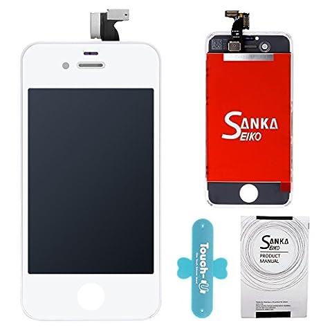 SANKA LCD Display Ersatz Bildschirm +Digitizer Touchscreen Front Glas für iPhone 4S Komplett-Weiß