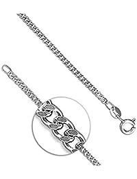 SC25 Cadena de plata de ley, estilo curvo, con sello distintivo, 40 cm de longitud -