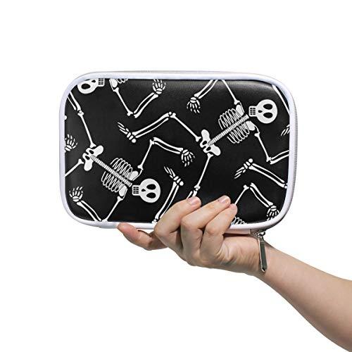 (Montoj Cool Skelett Totenkopf Muster Make-up Pinsel Tasche Federtasche Federmappe mit Reißverschluss Große Kapazität Stift-Organizer)