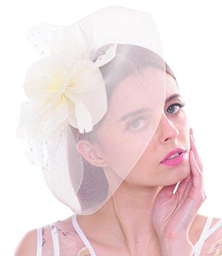 Big Feather Women Fascinator Polka Dot Flower Mesh Net Hair Clip Hat Derby Cocktail(Ivory)