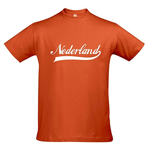 T-Shirt Nederland Oldschool Holland Oranje LÄNDERSHIRT EM / WM FAN Trikot S-XXL , Orange - weiß , XXL