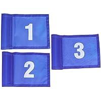 LIOOBO Practicar Banderas de Golf Verdes Bandera de Marcado de Golf Entrenamiento de Golf portátil Banderas de Destino de Golf (Azul 12 x 18 cm número 1 2 3 Estilo) 3 Piezas