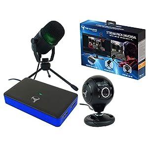 Subsonic SA5516  Stream Pack Zubehör für Gamer und Youtuber mit Full HD Video Capture Box, Nierenkondensatormikrofon und repositionierbarer HD Kamera Schwarz