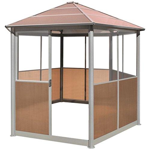vidaXL Pavillon Gartenhaus mit Schiebetür Aluminium Braun 310 x 270 x 265 cm