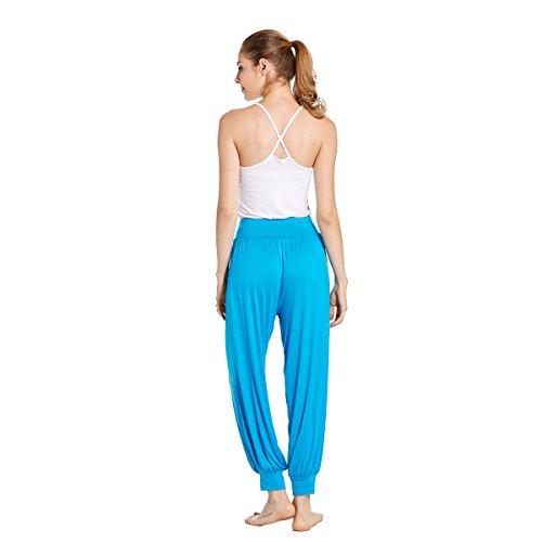 VENI MASEE® ON SALES Frauen weichen, elastischen Bund fitness yoga Herem Hosen, Farben Blau