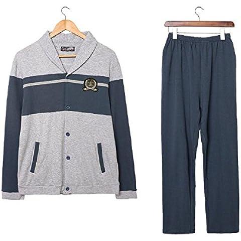 LIUDOUHombres pijamas manga larga algodón prendas de ropa de dormir pijamas , 180 (xxl)