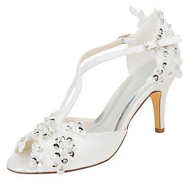 Wuyulunbi@ Scarpe donna raso elasticizzato estate della pompa base scarpe matrimonio Stiletto Heel Peep toe Applique Sequin per Party & abito da sera Un