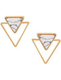 OOMPH Jewellery Two-In-One Gold & White Natural Stone Geometric Stud Fashion Earrings For Women & Girls (EBS3)
