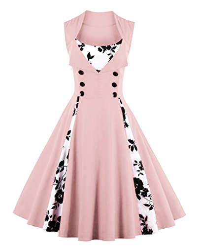 VERNASSA Kleid Damen 50er 60er Jahre, Vintage Ärmellos Retro Elegant Abschlussball Tupfen Baumwolle Swing Kleid für Rockabilly Abend Party Cocktail, Mehrfarbig, S-Plus Größe 4XL (Kleid Pink Tartan)