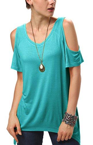 Urban goco donna camicia spalla-off tunica tops orlo irregolare moda t-shirt teal l