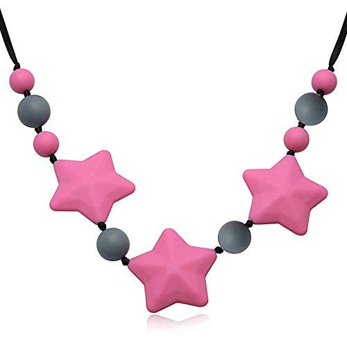 Epinki Mode Beißringe Baby Kette Lebensmittelechtes Silikon Zahnen Anhänger Halskette Stern Design Rot Chewelry Mama Kette 65cm