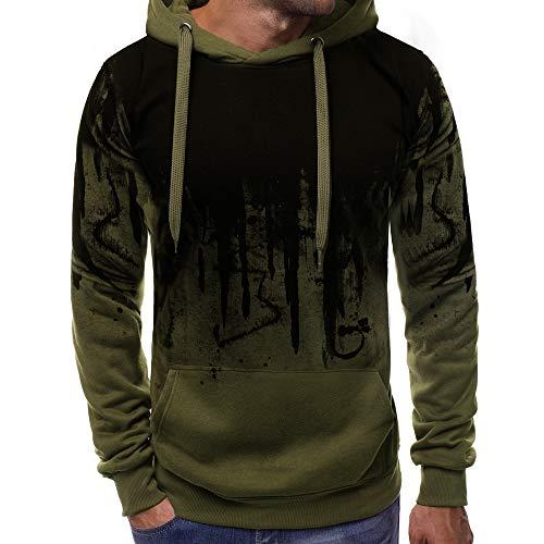 LANSKIRT Sudaderas Hombre Deportivas Camisa Estampada Sudadera con Capucha de Manga Larga Color Degradado Ropa de Otoño Hombres Abrigos Camiseta Sweatshirt Hooded M-3XL