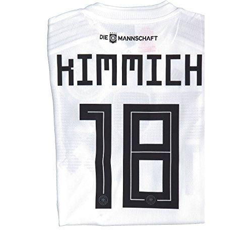 Adidas DFB Home Camiseta Alemania WM 2018Rusia Color Blanco, tamaño: L, número y Nombre: 18–kimmich