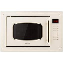Klarstein Victoria 25 - micro-ondes encastrable, design rétro, 25L, micro-ondes 900W / puissance de gril 1000W, 2 fonctions grill/micro-ondes, acier inoxydable, cadre de montage, ivoire