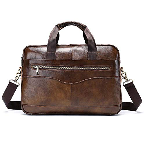 Jxth Klassische Business Satchel Laptoptasche Herren Leder Aktentasche Laptop Handtasche Messenger Business Bag für das College-Arbeitsamt (Farbe : Light Coffee) -