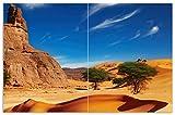 Wallario Herdabdeckplatte/Spritzschutz aus Glas, 2-teilig, 80x52cm, für Ceran- und Induktionsherde, Motiv In der Wüste Sahara
