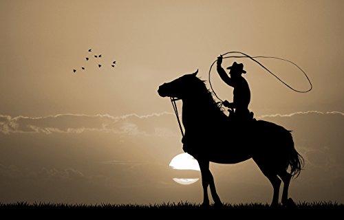 Bilderdepot24 Vlies Fototapete - Rodeo Cowboy - sephia - Sepia - 360x230 cm - mit Kleister - Poster - Foto auf Tapete - Wandbild - Wandtapete - Vliestapete