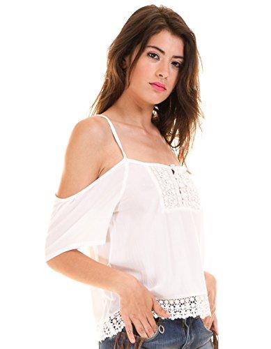 3cf86724e Blusa ibicenca Hombros Descubiertos Blanca de BlendShe (L - Blanco)