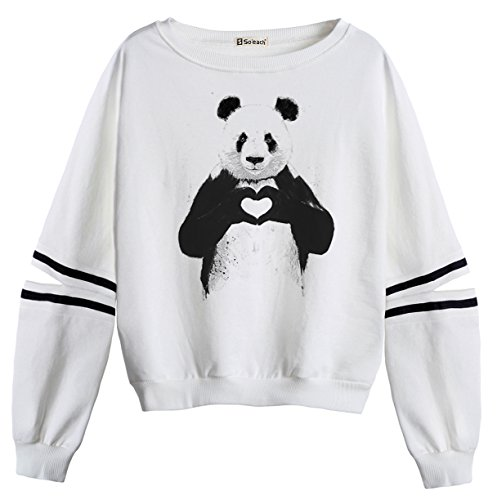 So'each Women's Animal Panda Love Stripes Casual Sweater Pullover Sweatshirt (Stripe Tiger Mantel Baumwolle)
