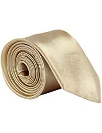 High Quality Plain Skinny Slim Satin Tie Champagne