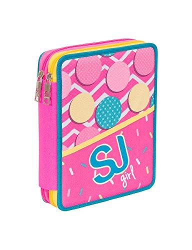 3cd7847608 ASTUCCIO scuola SEVEN MAXI - SJ GIRL - 2 scomparti - pennarelli matite  gomma ecc.