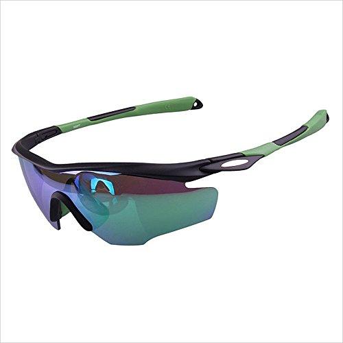 Yiph-Sunglass Sonnenbrillen Mode PC Polarisierte Sport-Sonnenbrille Radfahren Laufen Angeln Klettern farbige Unisex Männer Frauen Winddicht Anti-UV (Farbe : Grün)