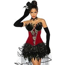 Corpiño con plumas, estilo Pavo real, rojo y negro -