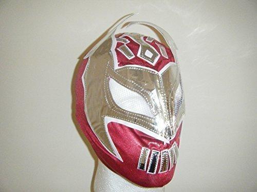 Cara rot–Kinder Wrestling Maske–Reißverschluss bis (Rot Und Gold Fancy Maske)