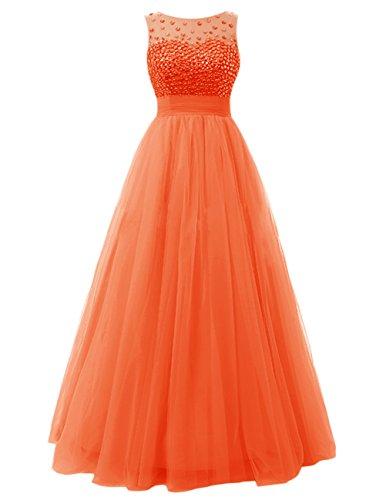 Dresstells Robe de cérémonie Robe de bal en tulle forme empire emperlée longueur ras du sol Orange