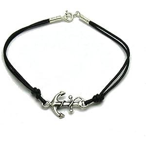 Sterling silber armband Anker mit schwarzes leder 925 Empress jewellery