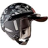 Steelbird Kukka K-1 Camo 888 Open Face Helmet in Matt Finish with Smoke Visor (Large 600 MM, Black)