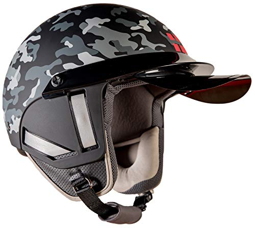 Steelbird Kukka K-1 Camo 888 Open Face Helmet in Matt Finish with Smoke Visor (Large 600 MM, Black)
