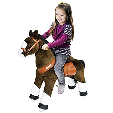PonyCycle®Shop ORIGINAL KLANGPFERD Erstaunliche Fahrt auf Pony Schokolade Braun und Weiß Huf Klein mit SOUND-N3152-15
