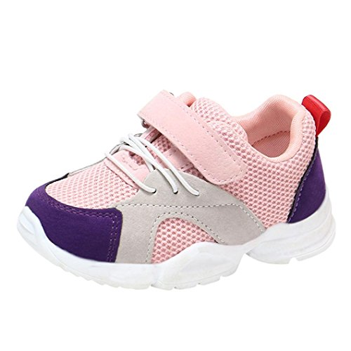 FNKDOR Baby Jungen Mädchen Kinder Casual Turnschuhe Mesh Laufschuhe Sneaker Sportschuhe (27, Rosa)