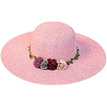 Sombrero de Paja de Playa Sombrero para el Sol Sombrero de Paja Verano Gorra  Sombrero Algodón 9d79ce8996b
