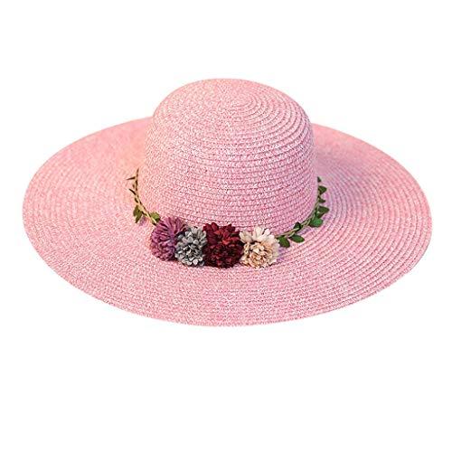 Produp Women große Brim Straw Hut Bunte Flower Beach Sun faltbar Cap würdevoll und großzügig Nizza und komfortable ()