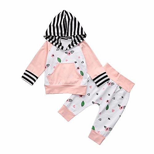 Yanhoo Kinderkleidung, Unisex Baby Kleidung Winter Strick Floral Streifen Kapuzenpullover Sweatshirt Strampler Tops Hoodies Outfits + Baumwolle Lange Hosen Kleidung Set