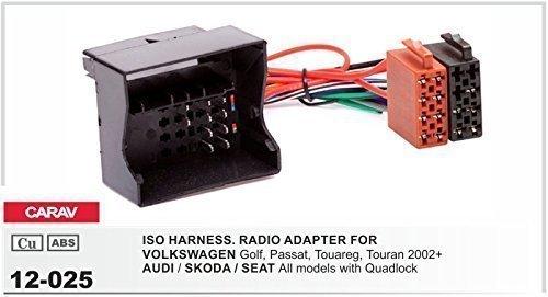 CARAV 12-025 Autoradio ISO Adapterkabel für VW- AUDI- SKODA- SEAT mit Quadlock