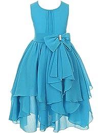 RENQINGLIN Las Niñas Falda Vestidos Vestido De Niña De Flores De Malla Irregular 100Cm-160Cm,Cielo…