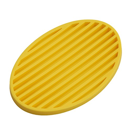 Gluckliy Practical Silicone Home Bathroom Soap Dish Plate Soap Tray Storage Holder (Yellow)