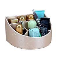XFPINK Makeup Organizer Cosmetic Display Case Makeup Organizer Desk Supplies Organisers Holder - 5-Slot Leather