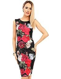 3a7d25548ab5 Mayaadi Damen Kleid Sommerkleid Blumenmuster Cocktailkleid Etuikleid Party  Pencil J-9750