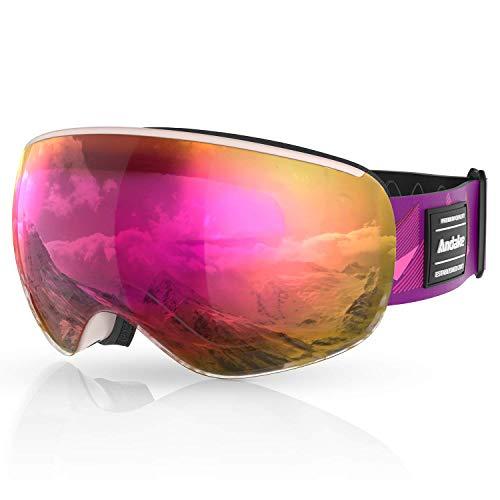 Andake Skibrille Kinder Snowboard magnetisch Brillenträger Anti-Fog UV400-Schutz Anti-Beschlag Kratzen   verspiegelte sphärische Linse Snowboardbrille Doppelte Linsen-Full REVO Rosa VLT-36.7{457fb0410ba9a8d09cb5f86efa1a250e1395efe6dd1aafac33c0b69ca4caf096}
