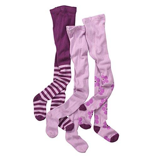 wellyou Kinder-Strumpfhosen für Mädchen 3er Set | Baby-Strumpfhosen lila | hoher Baumwoll-Anteil |Größe 86-92 (Strumpfhosen Kinder Baumwolle)