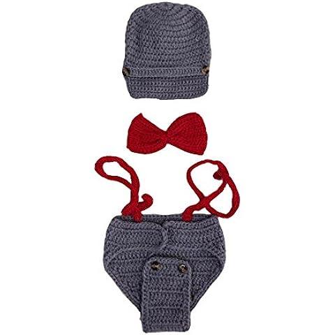 ACVIP Unisex Neonato e Bimbo Tessuto Completo Cappello Farfallino e Mutande di Nastro Vestito da Fotografia alla Moda