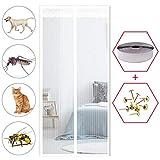 GOUDU Fliegengitter Tür Magnetisch, Fliegennetz, Insektenschutz, Ohne Bohren, für Balkontür Wohnzimmer Terrassentür - Weiß 110x210cm(43x83inch)
