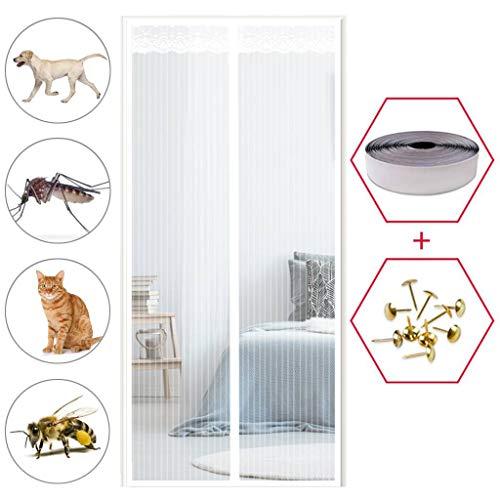 GOUDU Magnet Fliegengitter Tür, Fliegengitter Balkontür, Insektenschutz, Automatisches SchließEn, für Balkontür Wohnzimmer Terrassentür - Weiß 80x220cm(31x87inch)