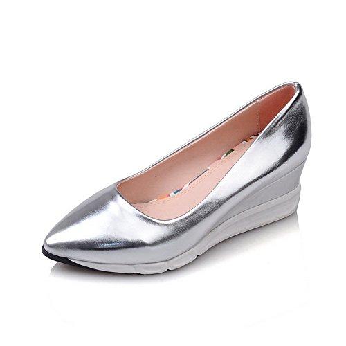 VogueZone009 Femme Tire Pu Cuir Pointu à Talon Correct Couleur Unie Chaussures Légeres Argent